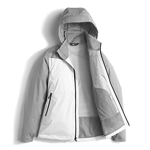 The North Face Womens Resolve Plus DWR Rain Jacket, TNF White/Mid Grey Dobby, XL