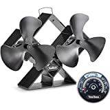 VonHaus 6-Blade Twin Motor Double Heat Powered Wood Stove Fan with Temperature Gauge - Ultra Quiet Fireplace Wood Burning Eco Fan for Efficient Heat Distribution – Black (6 Blade)