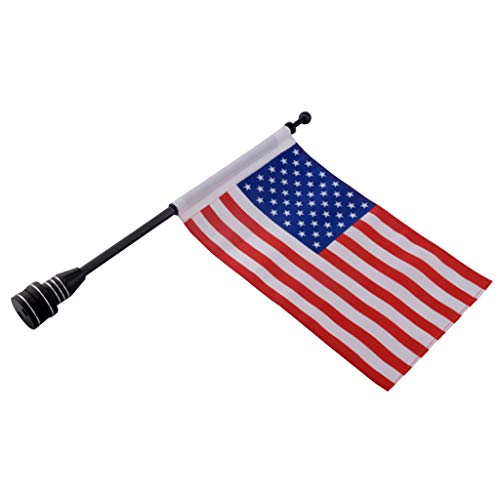 H HILABEE Universal Motorrad Flagge Fahne mit Aluminium Fahnenmast, Fahnenmaste 39cm Länge, Flaggengröße 26x17cm - Amerika 2