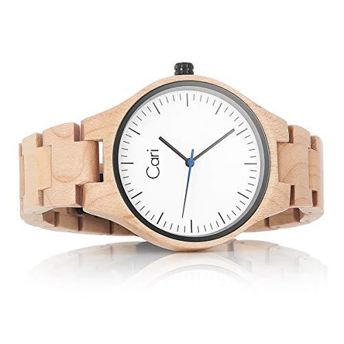 Cari Damen & Herren Holzuhr 40mm mit Schweizer Uhrwerk - Holz-Armbanduhr Marseille-011