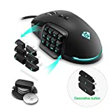 Gamkoo RGB Wired Gaming Mouse,【24000 DPI】【Programmable 17 Buttons】【 Breathing Light】【Interchangeable Side Button】【Macros Function】【Ergonomic Mouse】MMO Gaming Mice for Windows PC Games