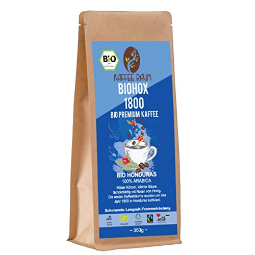 BIOHOX 1800 von Kaffeebaum | BIO Premium Arabica Kaffee | 100% Arabica | aromatischer Filterkaffee | Kaffeegenuss aus Honduras | Kaffee gemahlen 350g | BIO-Qualität
