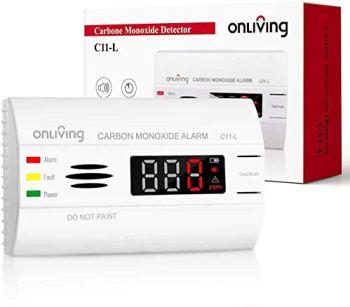 ONLIVING Détecteur de Monoxyde de Carbone avec 10 Ans D'autonomie, Alarme CO avec écran LED, Capteur Précis à 360° Et Bouton de Test, Pile Remplaçable, Certifié en 50291, C11-l