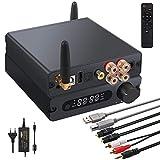 LiNKFOR Amplificateur HiFi Bluetooth 5.0 avec Décodage USB 192kHz Ampli Audio Convertisseur Coaxial Optique USB vers Analogique avec Télécommande IR Amplificateur de Puissance Numérique 100W + 100W