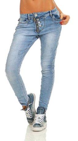 Fashion4Young 11105 Damen Jeans Hose Boyfriend Blau