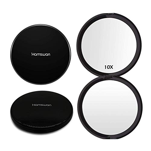Miroir de Poche, HAMSWAN Miroir de Maquillage Pliant Double Face avec...