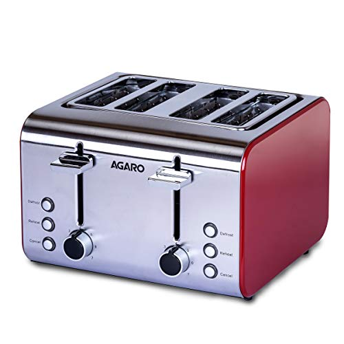 AGARO GRAND 4 Slice Pop-up Toaster 1400-1600W, steel & red, large (33504)
