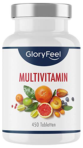 Multivitamin Hochdosiert - 450 Tabletten (15 Monate) - Vergleichssieger 2020* - Alle Wertvollen A-Z Vitamine und Mineralstoffe - Laborgeprüft ohne Zusätze hergestellt in Deutschland