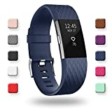 POY Replacement Bands Compatible for Fitbit Charge 2, Special Edition Adjustable Sport Wristbands, Small Navy