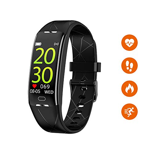 Sonkir Fitness Tracker HR, Aktivitäts-Tracker-Uhr mit Pulsmesser, Schrittzähler, 8 Sportmodi, Kalorienzähler, Schlafmonitor, wasserdichtes IP68-Armband für Android und iPhone (Schwarz)