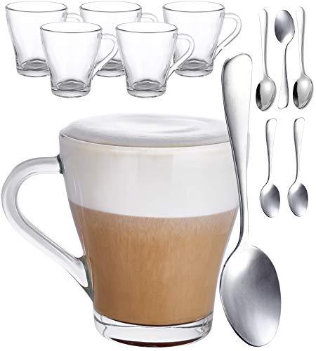 6 Tazze da Cappuccino in Vetro con 6 Cucchiaini - 250ml - Mantengono la Bevanda Calda - Per Tisane, Caffe, Cioccolata