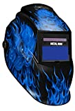 Metal Man Auto Darkening Welding Helmet With 9 To 13 Adjustable Shade Control PLUS GRIND Solar Powered Plus AAA Battery Backup| Blue Skull Flame Graphic Design| For MIG, TIG, Stick Welding