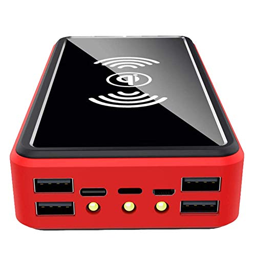 AP.DISHU Chargeur Solaire, 100000mAh Batterie Externe, Chargeur Solaire Portable sans Fil Qi, Haute Vitesse et Doubles entrées Batterie de Grande Capacité pour Smartphones,100000mAh