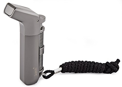 Scorch Torch Tactical Ergonomic Angle Double Jet Flame Torch Cigarette Cigar Lighter w/ Keychain and Strap (Gunmetal)