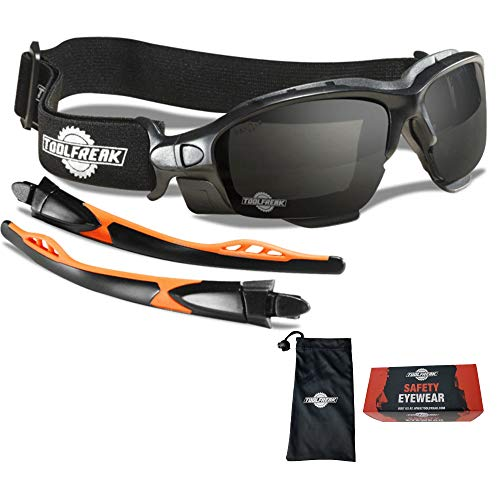 ToolFreak Spoggles Safety Glasses , Distortion Free Smoke Tinted Lens , Foam Padded , Wear them as Glasses or Goggles ,Protect from Impact and UV , Headstrap and Carry Pouch