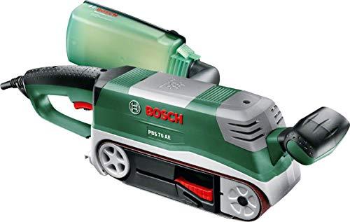 Ponceuse à bande Bosch - PBS 75 AE Edition Set (variateur électronique, 1 bande abrasive, butée parallèle et angulaire)
