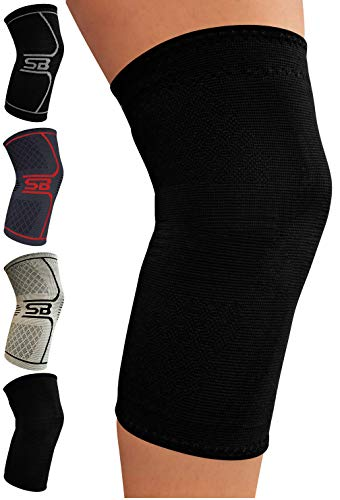SB SOX Compression Knee Brace - Great Support That Stays in Place - Perfect for Recovery, Crossfit, Everyday Use - Best Treatment for Pain Relief, Meniscus Tear, Arthritis (Solid - Black, Medium)