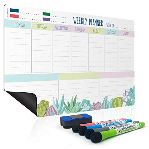 joeji's Kitchen Planificador semanal de Pizarra   Planificador semanal Familiar y Organizador semanal de Comidas Todo en uno   Pizarra Blanca magnética