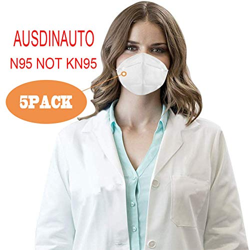 Anti Pollution N95 Mask,AUSDIN N95,FFP2 Anti Pollution Mask Dust-Proof and Anti Smoke Mask 98% filtration effect,Unisex,for Outdoor Construction,Paint, Gardening,DIY,Home 5 pack