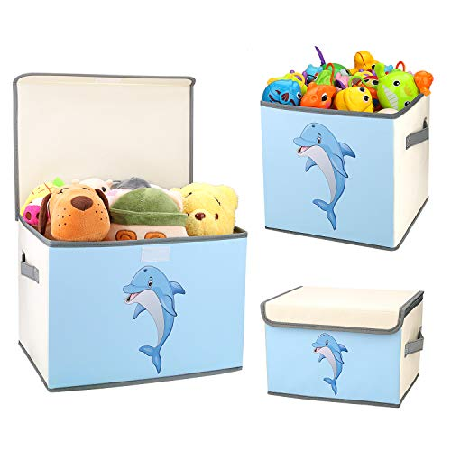 DIMJ Toy Storage Box, Kids Toy Chest Storage Bin for Toy Canvas Storage Bin Basket with Lid Open Collapsible Box Cute Toy Organizer for Boys Girls Dolphin