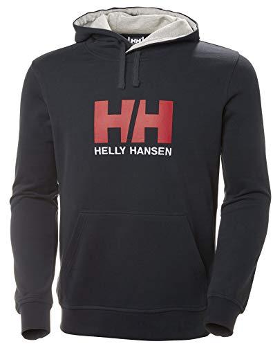 Helly Hansen Logo Hoodie Hombre con Capucha, Sudadera Casual de algodón para Uso Diario y Actividades al Aire Libre, Azul (Marino), L