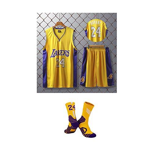 GBY Uniforme di Basket per Bambini, Los Angeles Lakers Kobe Bryant No.24 Pallacanestro Set, Uniforme Classica Fan Version Pallacanestro, Mesh Top/Pantaloncini/calzin Yellow-XXS