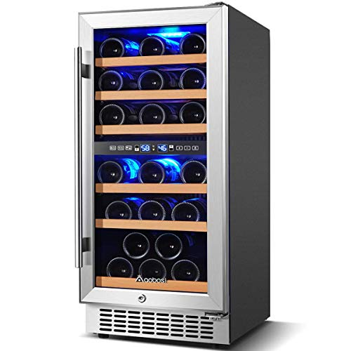 Wine Cooler Dual Zone, Aobosi 15 inch 30 Bottle Wine refrigerator Built-in or Freestanding with Fashion Look, Quick and Silent Cooling System, Double-Layer Tempered Glass Door, Front Ventilation