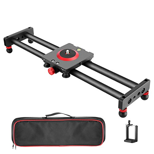 Neewer Camera Slider Carbon Fiber Dolly Rail, 19.7''/50cm with 4 Bearings, Compatible with iPhone & Android Cell Phones and Mirrorless Cameras, Load up to 2.2lbs/1kg (Electronics)