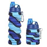 TRRY Bottiglia di Acqua Pieghevole in Silicone, Borraccia Pieghevole per Sport per Viaggi Palestra Campeggio Escursionismo Sport Portatile Bottiglia di Acqua, 500ML