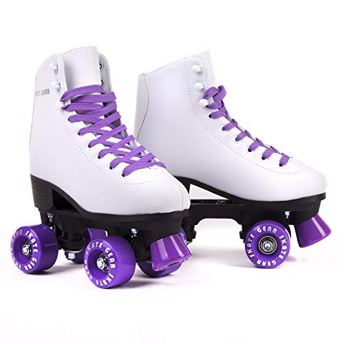 Cal 7 Roller Skates for Indoor & Outdoor Skating, Faux Leather Boot with Quad Design, Ankle Support Frame, Adults & Kids (Purple, Youth 4 / Women's 5)