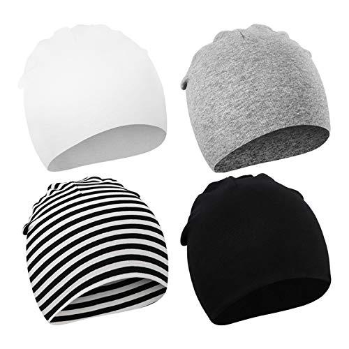 DRESHOW Baby BQUBO 4 Stück Beanie weiche Nette Wollmütze Krankenhaus Hüte Cap Beanies 0-3 Monat 4-Pack: Strip, Grau, Weiß, Schwarz