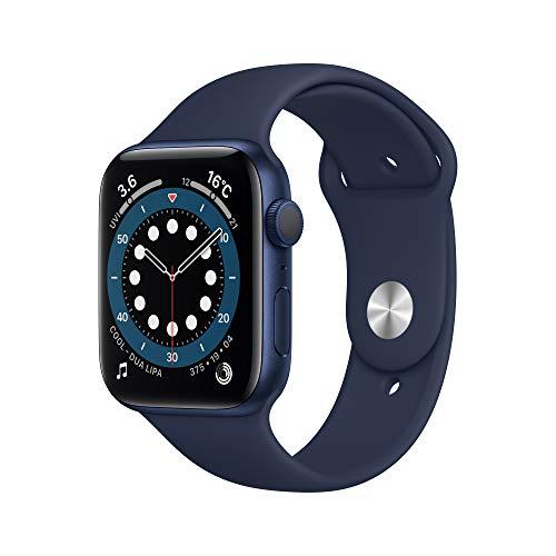 最新 Apple Watch Series 6(GPSモデル)- 44mmブルーアルミニウムケースとディープネイビースポーツバンド