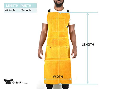 """Leather Welding Apron Heat Flame Resistant Heavy Duty Work Apron with 6 Pockets, 42"""" Long with back adjustable back and neck straps for Men & Women, color Brown"""