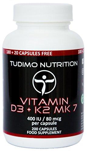 Vitamina D3 y K2 MK7 400 IU / 80 mcg – 200 pzas (6+ Meses de Provisión) de Cápsulas de Desintegración Rápida de Calidad Premium con Vit K2 Menaquinona y Vit D3 Colecalciferol, de TUDIMO