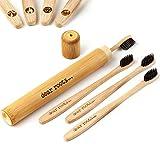 Brosse à dents en bambou 4 pièces avec étui de voyage - Brosse à dents manuelle avec manche en...