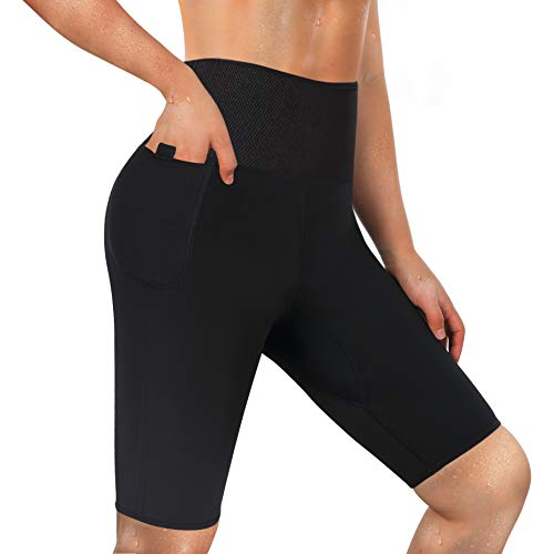 LODAY Neoprene Sauna Shorts with Pocket for Women Weight Loss Sweat Pants Workout Body Shaper Yoga Leggings (Black, XL) 1