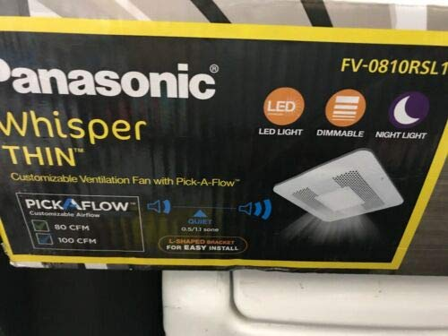Panasonic WhisperThin Pick-A-Flow 80 or 100 CFM Exhaust Fan with LED Light Low Profile Ceiling or Wall and 4 in. Oval Duct Adapter