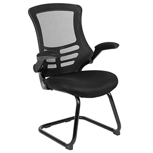 Flash Furniture Black Mesh Sled Base Side...