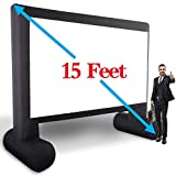 15' Inflatable Outdoor Projector Movie Screen -Package with Rope, Blower + Tent Stakes - Laika Factory Inflatable Projection Movies Screens Great for Outdoor Backyard Pool Fun (15feet) (15feet)