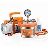 BACOENG 2 Quart Vacuum Chamber Kit with 3.6 CFM 1 Stage Vacuum Pump HVAC
