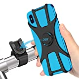 SYOSIN Bike Phone Mount, Detachable 360° Rotation Motorcycle Phone Mount with Adjustable Universal Silicone Bicycle Phone Holder Compatible with iPhone 12 Pro 12 Mini 11 Pro Max XR 8 7 6 Plus S10 S20