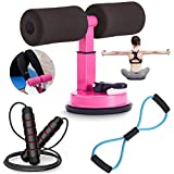 Grefic Sit Up Bar for Floor, 3 In 1 Sit Up Assistant Device Kit with Jump Rope, Multifunctional Resistance Band, Perfect Abs Workout Equipment for Home Gym