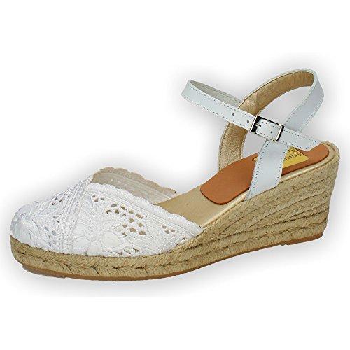 TORRES 5004 Zapatillas DE Encaje Mujer Alpargatas Blanco 38