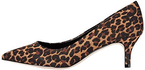 FIND Kitten Heel Court Zapatos de Tacón, Beige (Leopard), 39 EU
