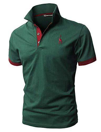 GHYUGR Polo Uomo Basic Manica Corta Tennis Golf T-Shirt Ricami Fulvi Maglietta Poloshirt Camicia,Verde,L