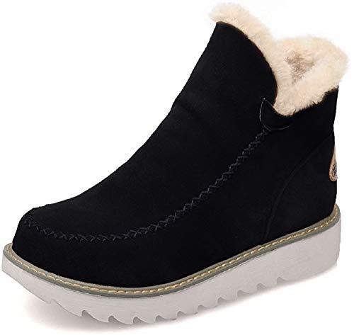Botas Mujer Invierno Nieve Cuña Botines Fur Plataforma Calientes Cortas Casa Planas Alpargatas Tobillo Ante 3cm Zapatos Beige Marrón Negras 34-43 BK37