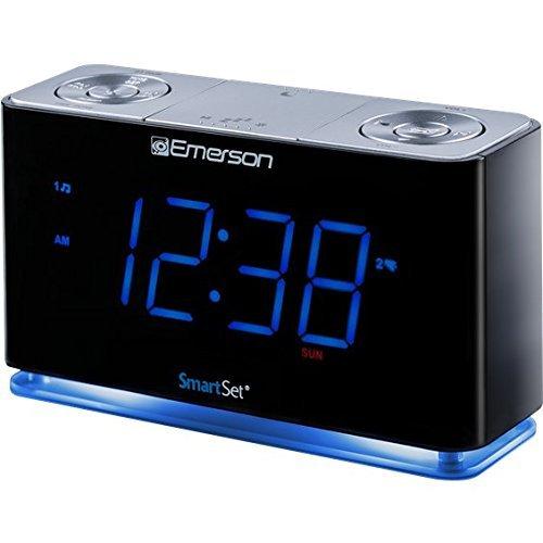 SmartSet Alarm Clock Radio with Bluetooth Speaker, USB Charger for iPhone and Android, Night Light, and Blue LED Display (Renewed)
