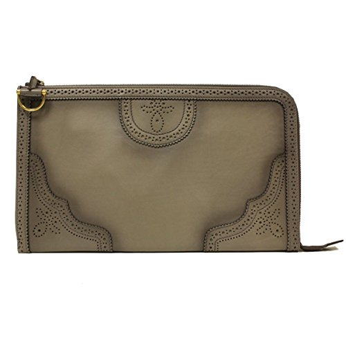 41 66rRIJ+L Gucci Grey Duilio Brogue Zip Around Oversized Leather Clutch 296911 AKZ5A Dimensions: 14.5 x 8 x 1 inches Serial number embossed in leather tab