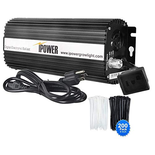 """iPower Horticulture 1000 Watt Digital Dimmable Electronic Ballast for Hydroponic HPS MH Grow Light with 200pcs Cable Tie of 8"""", 1000W"""