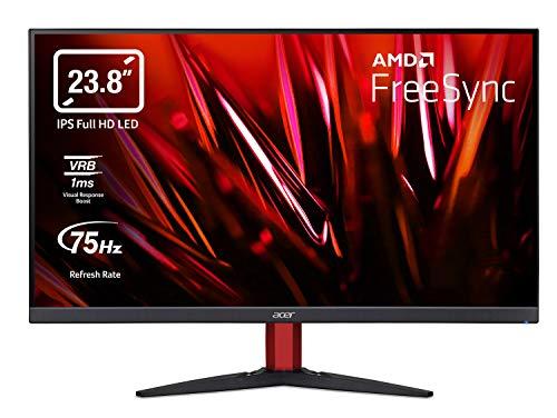 Acer Nitro KG242Y Gaming Monitor 23,8 Zoll (60 cm Bildschirm) Full HD, 75Hz, 1ms (VRB), 2xHDMI 1.4, VGA, HDMI FreeSync,Schwarz